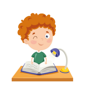 Boy reading a book as part of his daily routine