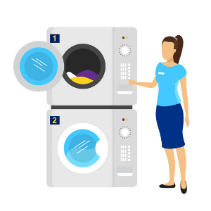 example of a daily routine - woman doing the laundry