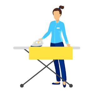 daily routine example - woman ironing clothes