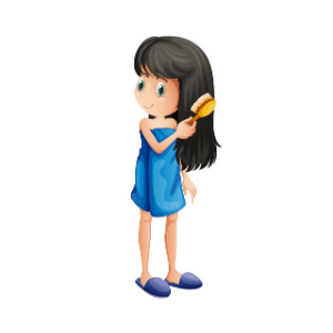girl brushing her hair as part of her daily routine