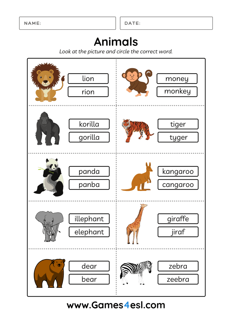 Animals Worksheets