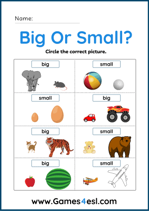Big and Small Worksheets