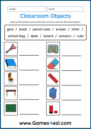 Classroom Object Worksheet