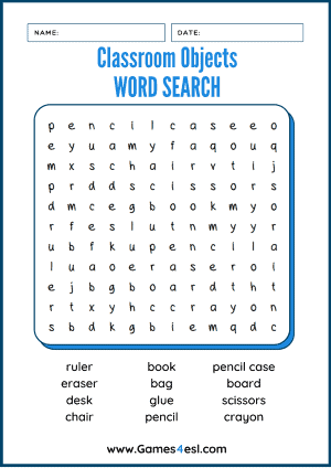 Classroom Object Word Search