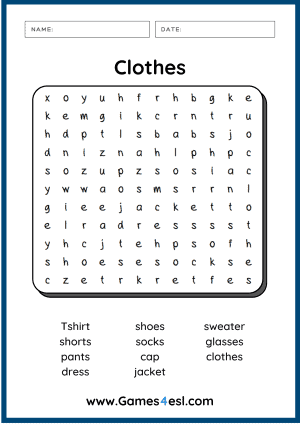 Clothes Worksheet - Word Search