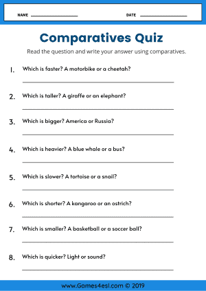 Comparative Adjective Worksheets