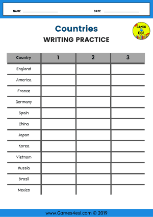 Country Names In English Worksheet