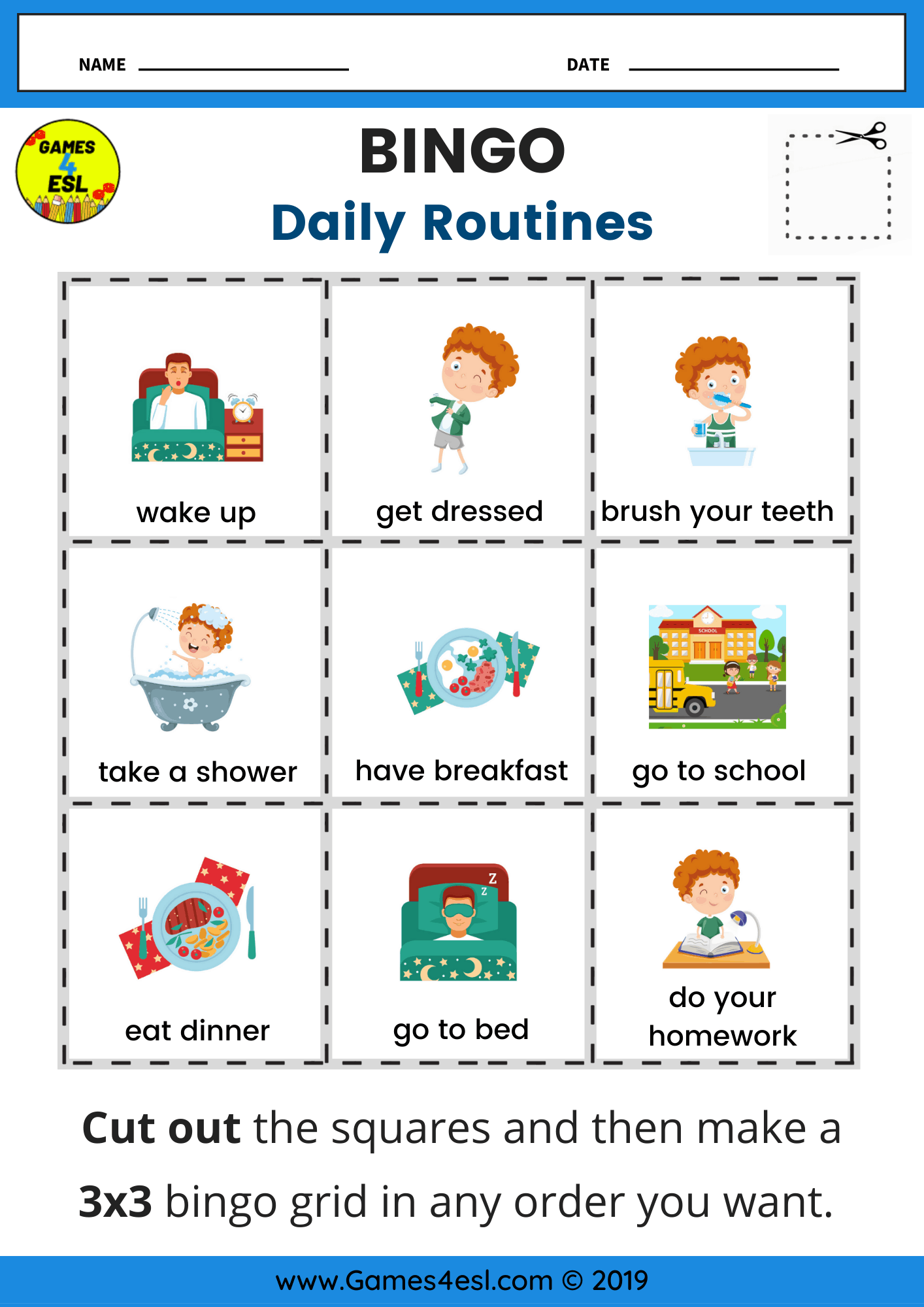 Daily Routine Worksheets Games4esl