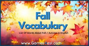 Fall Words | Useful List Of Words About Fall In English