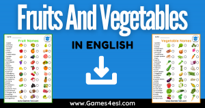 List Of Fruits And Vegetables In English With Pictures