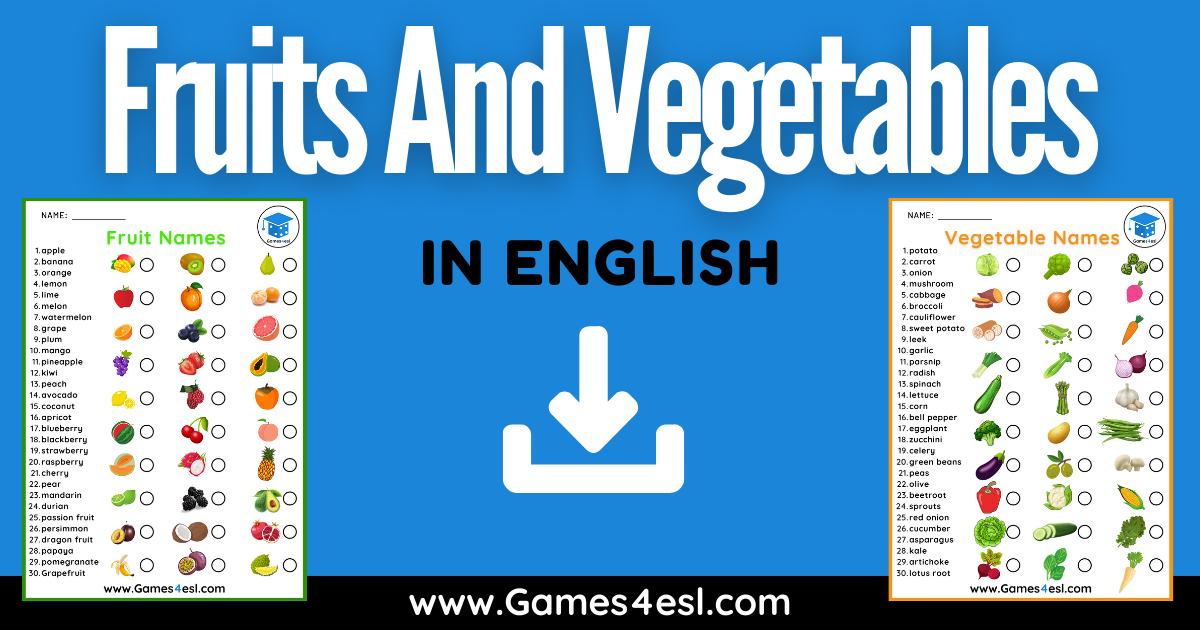 Fruits And Vegetables In English