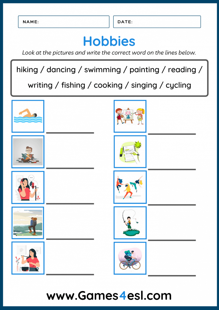 Hobbies Worksheets