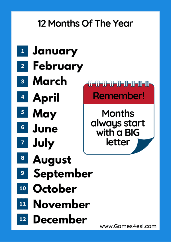Months In English