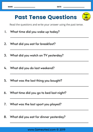 Past Tense Worksheets