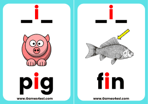 Phonics Flashcards CVC i