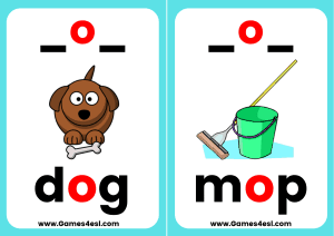 Phonics Flashcards CVC O