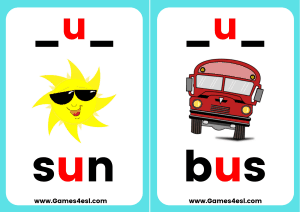 Phonics Flashcards CVC U