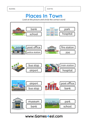 Places In Town Vocabulary Worksheet