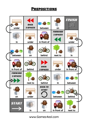Prepositions Of Place board Game Worksheet