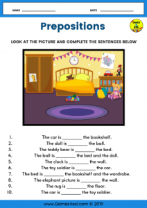 ESL Worksheet Prepositions