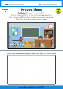 Prepositions ESL Worksheets