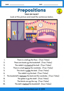 Prepositions Worksheet ESL