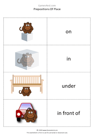 Prepositions Of Place Activity worksheet