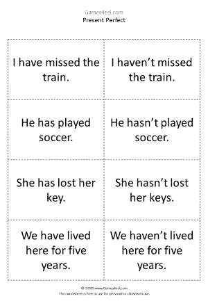 Present Perfect Activity Cards