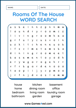 Rooms Of The House Wordsearch