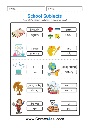 School Subjects in English Worksheet