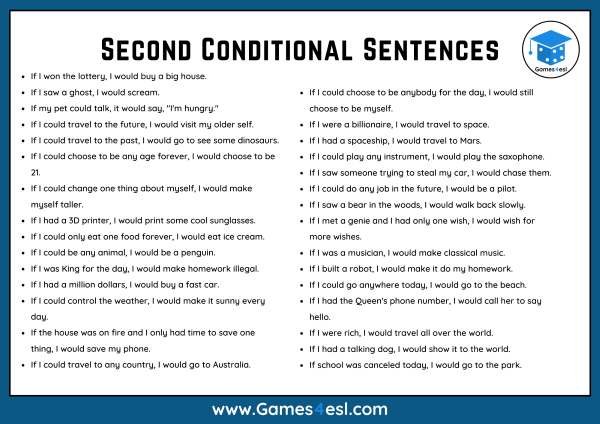 Second Conditional Example Sentences