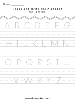 Trace The Alphabet Worksheet Uppercase letters A to Z