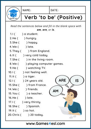 Verb To Be Worksheet Positive