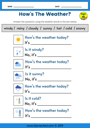 How's The Weather Worksheet