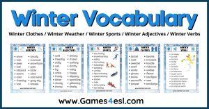 Winter Vocabulary | Useful List Of Words About Winter