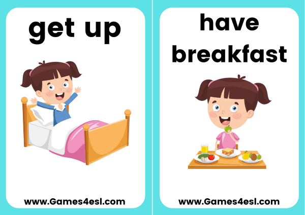 Daily Routine Flashcards Games4esl