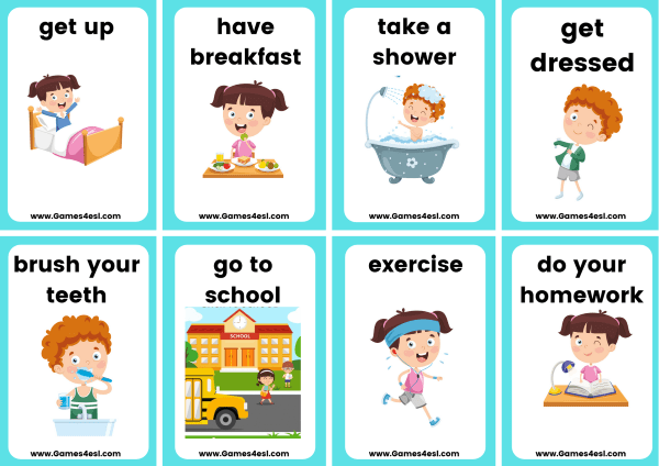 Small daily routine flashcards