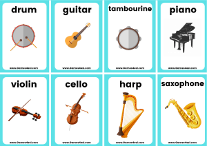 small musical instrument flashcards