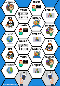 Printable board game school subjects